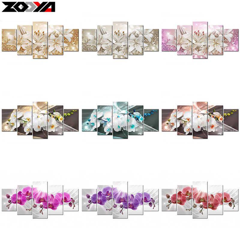 ZOOYA 5d diy Diamond embroidery Orchid&peony&lily flower diamond painting Cross Stitch full square Rhinestone mosaic decoration