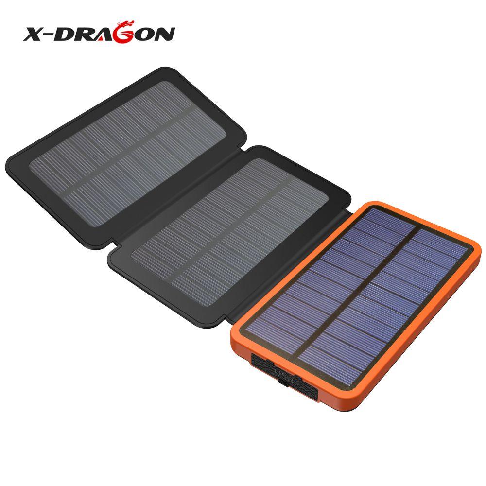 X-DRAGON batterie portable solaire 10000 mAh Extérieure chargeur solaire batterie externe pour iPhone Samsung xiaomi téléphone portable