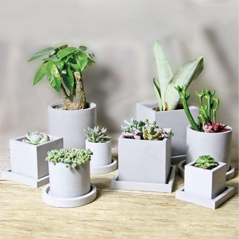 Moule en Silicone de pot de fleur de pinkmore original moule carré rond de pot pour des succulentes moules de vase en béton de silicone de taille multi