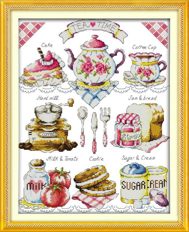 Gâteau de thé dlicieux 11CT tissu imprimé 14CT toile DMC compté Kits de point de croix chinois ensemble de point de croix broderie couture