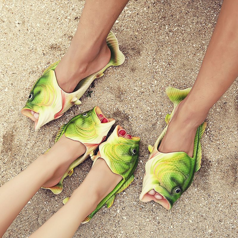 2017 Handmade painted Slippers, fish slippers woman Personality fish sandals women bling flip flops slides fish beach slippers