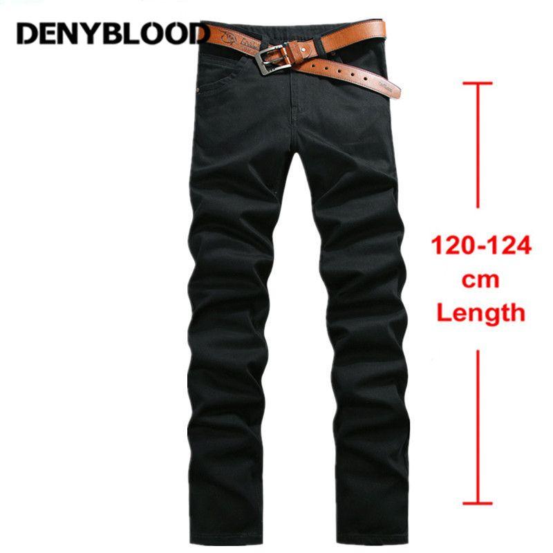 122 cm Extra Larga Para Hombre Stretch Pantalones Pantalones Más El Tamaño 28 ~ 44 Mens Casual Pantalones Rectos Stonewashed Masculina Sarga pantalón Negro 760