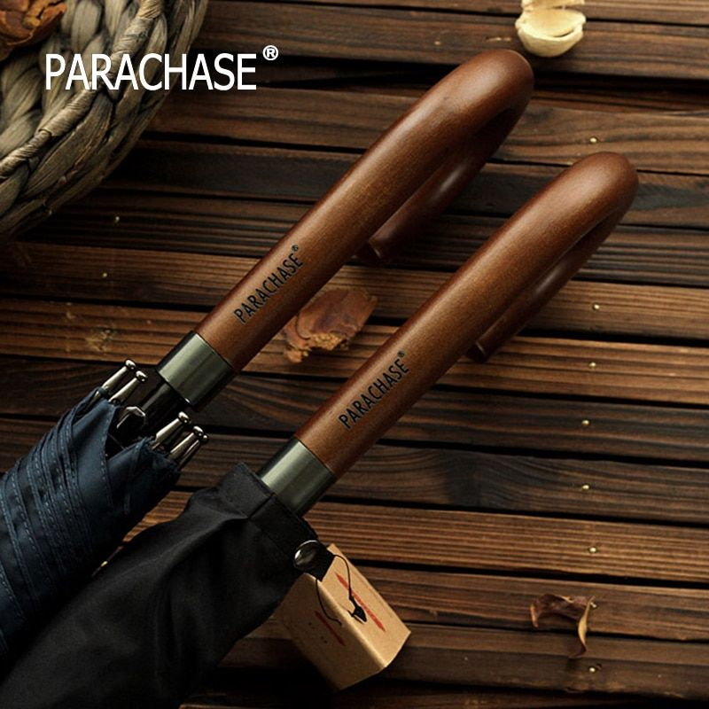 New Arrival Japanese Brand Long Umbrella 8K Windproof Wooden Handle Large Men Umbrellas Rain Quality Classic Business Paraguas