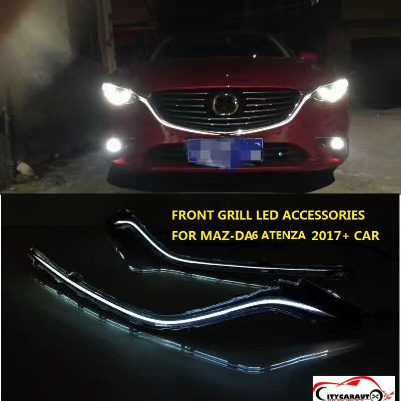 CITYCARAUTO LED FRONT GRILLS TRIMS CHROMIUM STYING HOODS COVER RACING GRILL TRIMS FIT FOR MAZDA 6 ATENZA 2017 2018 CAR