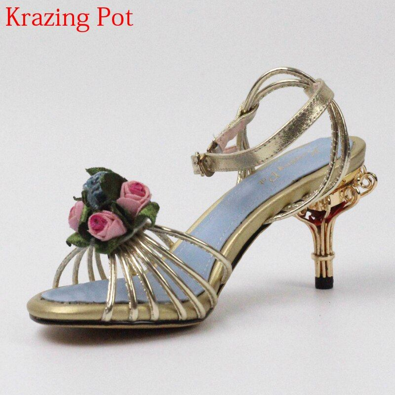 2018 Superstar Genuine Leather Bird Cages High Heels Peep Toe Flowers Ankle Straps Party Women Sandals Brand Summer Shoes L35