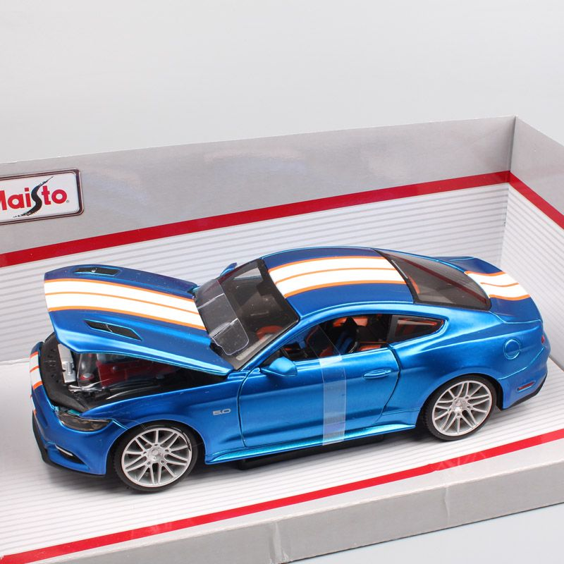 1:24 Scale small Maisto 2015 ford mustang sports racing pony Fastback coupe diecast model car toy for miniature collector blue