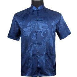 Biru Laut Cina Pria Musim Panas Leisure Kemeja Sutra Berkualitas Tinggi Rayon Kung Fu Tai Chi Ukuran M L XL XXL XXXL M061305