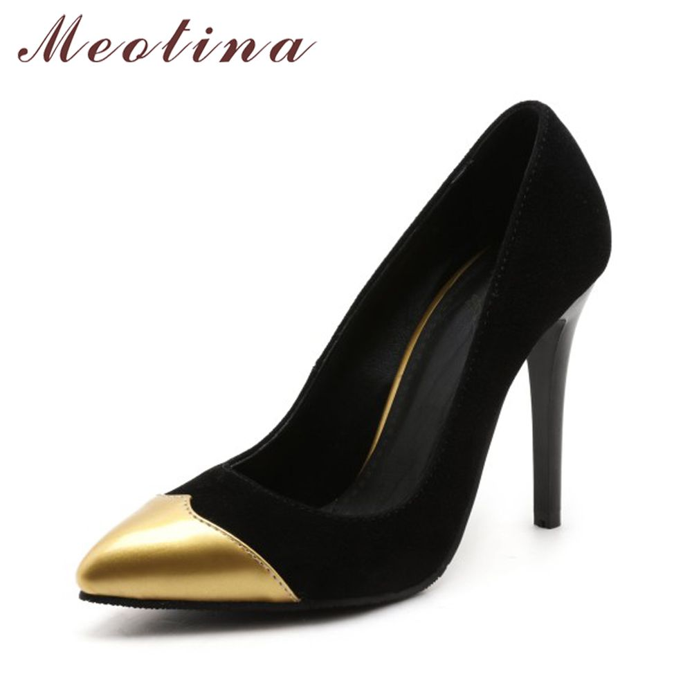 Meotina Chaussures Femmes Pompes Stiletto Haut Talons Bout Pointu Grande Taille 46 Haute Mince Talons Slip On Pompes Bureau Chaussures Or Argent