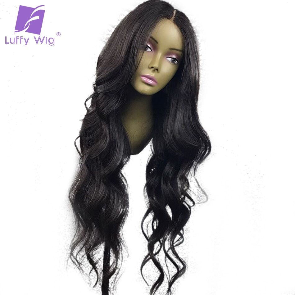 Luffy 13X6 Deep Part Wavy Human Hair Lace Front Wigs With Baby Hair Pre Plucked Brazilian Non Remy Hair Glueless Cap Middle Part