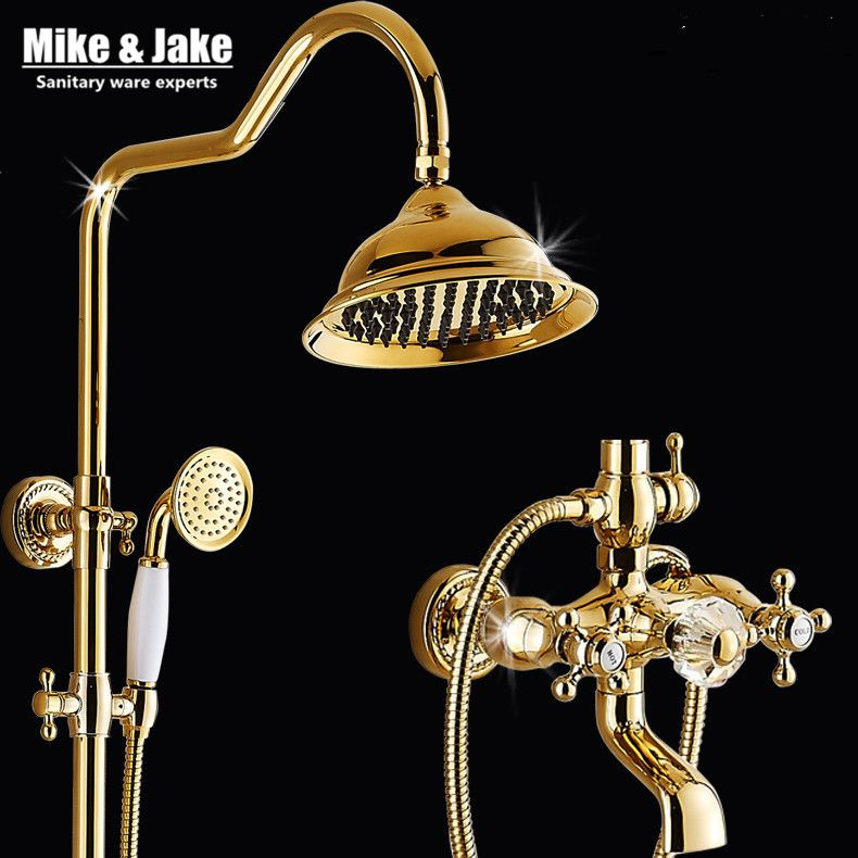 Bathroom golden shower set with crystal handle luxury bathtub mixer set with soap holder gold Bath Shower Faucet set