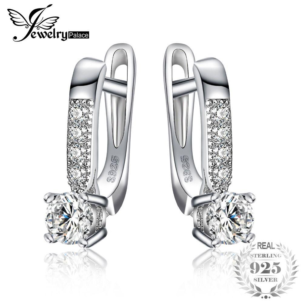JewelryPalace 1ct Cubique Zircone Clip Boucles D'oreilles 925 En Argent Sterling De Mariage Anniversaire Bijoux Pour Femmes Cadeau de Partie de Mode