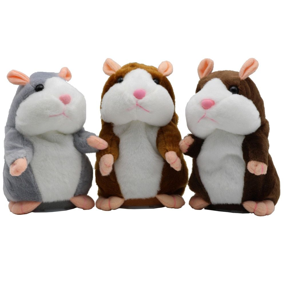 New Talking Hamster Mouse Pet Plush Toy Hot Cute Speak Talking Sound Record Hamster Educational Toy for Children Gifts 15 cm