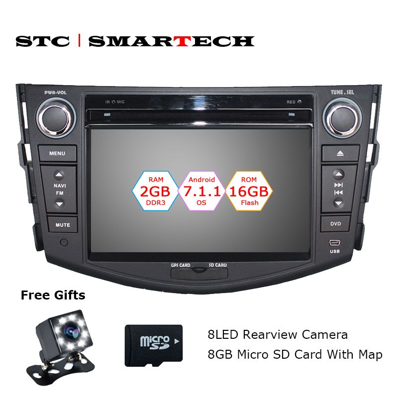 SMARTECH 2 Din Android 7.1.2 OS Car DVD Player Autoradio GPS Navigation for TOYOTA RAV4 2006 -2012 Quad Core 2GB RAM 16GB ROM
