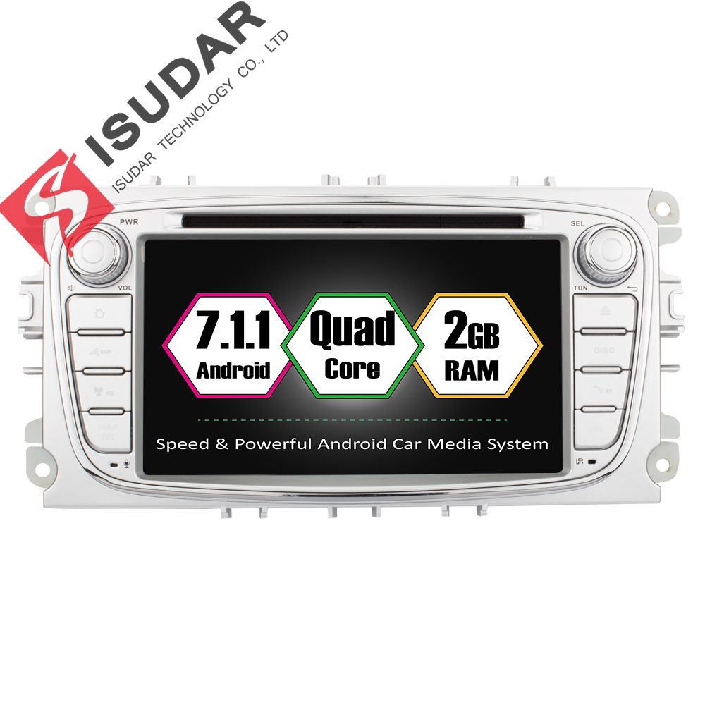 Оптовые продажи! Два din 7 дюймов dvd-плеер автомобиля Android 7.1 для Ford Focus/S-MAX/Mondeo/ c-Max/Galaxy Wi-Fi GPS навигации Радио USB