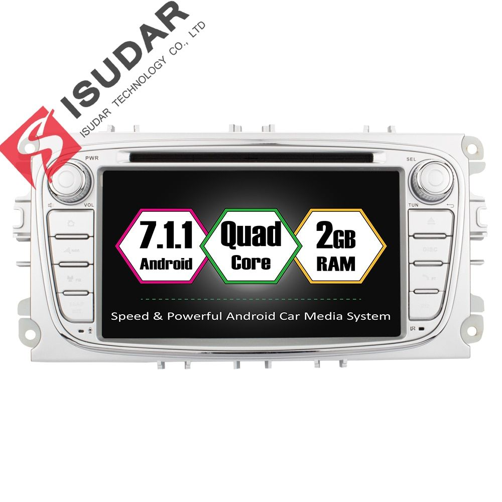 Isudar Car Multimedia Player GPS Android 7.1.1 2 Din DVD Automotivo For FORD/Focus 2/S-MAX/Mondeo/C-MAX/Galaxy/Fiesta Wifi Radio