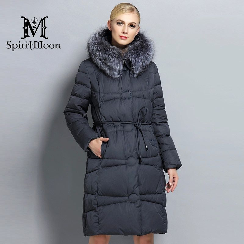SpiritMoon 2017 Winter Women Thickening Bio Down Jacket Female Hooded Coat Down Parka With Silver Fox Collar Plus Size 5XL 6XL
