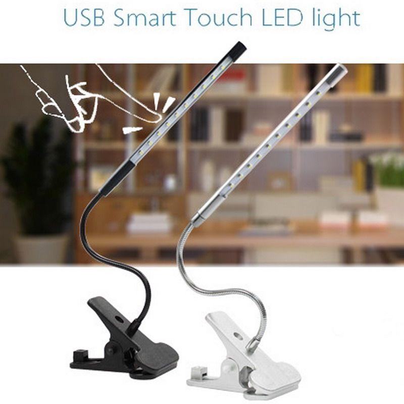 Touch Dimmbar Flexible USB LED augenpflege Lesen Licht Einstellbar LED Clip Schreibtischlampe für Laptop Schlafzimmer Studie beleuchtung