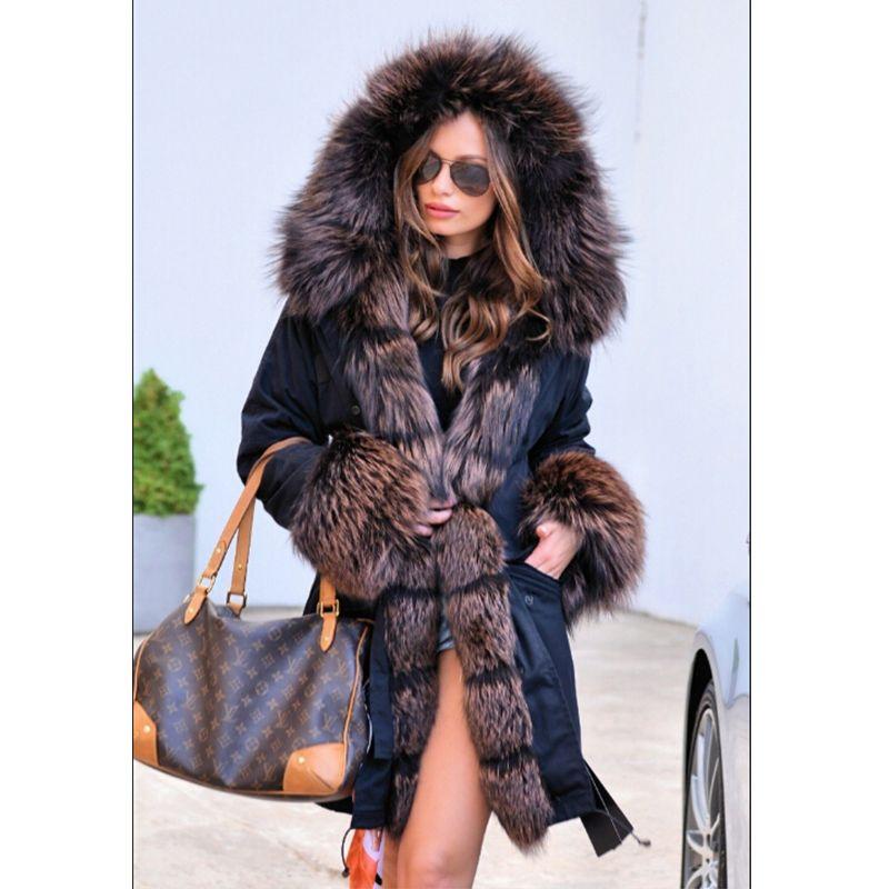 FURSARCAR Women Fur Parka Down Black Jacket With Fur Hood Fashion Winter Natural Fur Parka With Raccoon Fur Collar