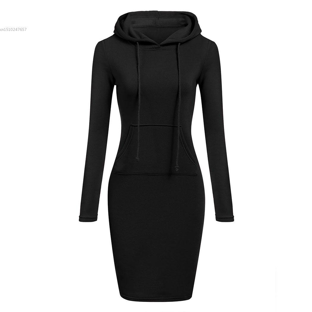 2018 Autumn Winter Vestidos Hoodies Sweatshirt Dress Women Fashion Slim Hooded Long Sleeve Solid Pencil Hoodie Dress Hot selling