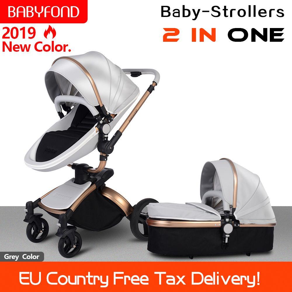 Babyfond Baby Kinderwagen 360 drehen goldene rahmen baby auto 2 in 1 einschließlich schlaf korb Leder baby kinderwagen EU Zertifizierung