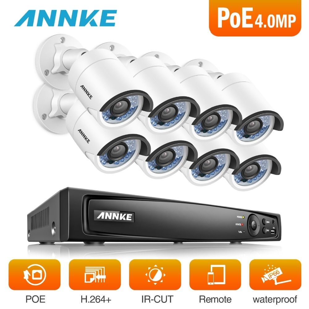 ANNKE 8CH 6MP POE NVR Security System With 8pcs 4mm 4MP Weatherproof Infrared Night Vision Cameras Motion Detection WDR 3D DNR