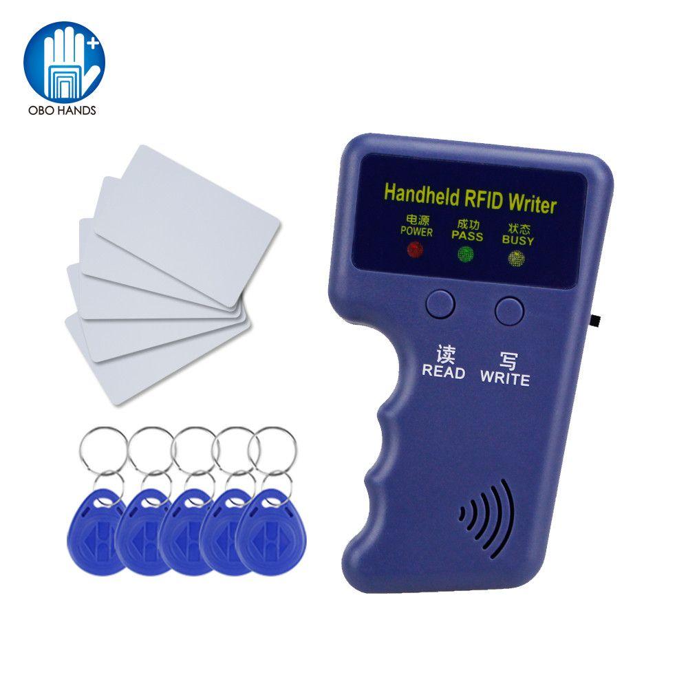 Handheld 125 khz RFID Duplicator schlüsselkopierer reader schriftsteller ID karte cloner Programmierer + 5 Keys + 5 stücke Wiederbeschreibbare karten EM4305 T5577