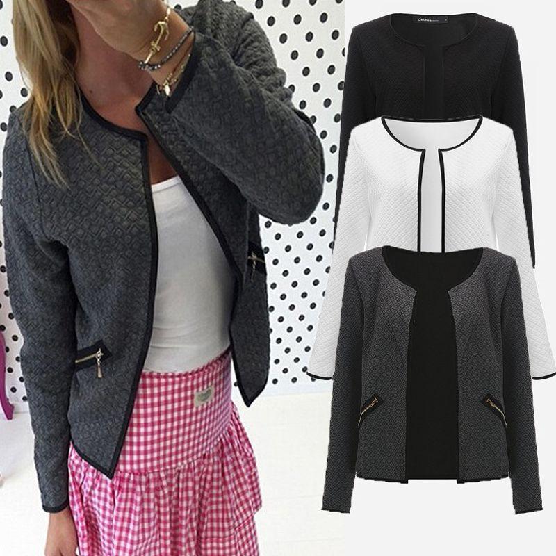 Grande Cour Automne Plaid Femmes Mince Manteaux Veste Courte Casual Slim Manches Longues Blazers Cardigans 2018 De Mode Femelle Outwear Costumes