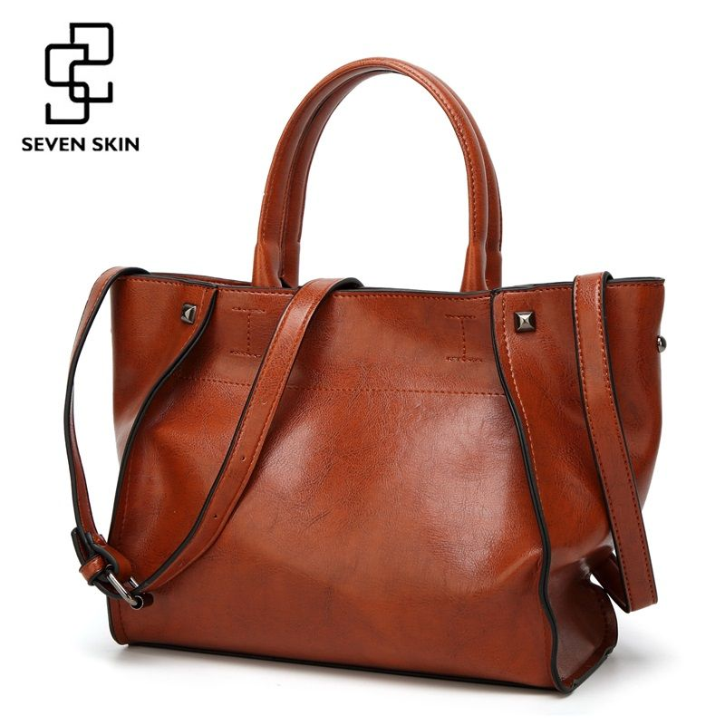 SEVEN SKIN Brand Fashion Women Solid Leather Bags Female Shoulder Bags Women Handbag Large Capacity Tote Bag 2017 New Designer