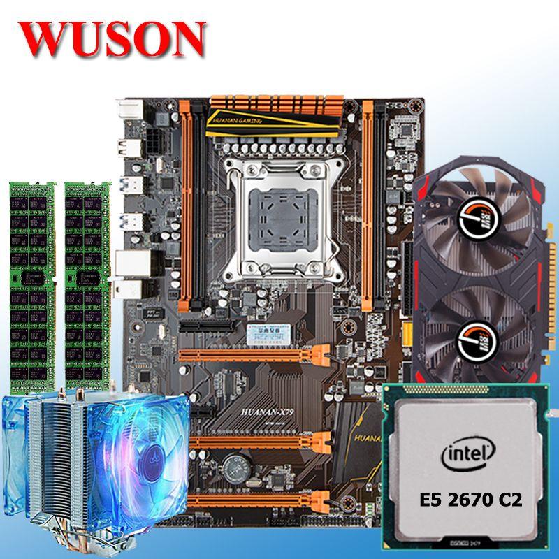 Gebäude computer HUANAN deluxe X79 MOTHERBOARD-FREIES CPU Xeon E5 2670 C2 mit kühler RAM 16G (2*8G) RECC GTX1050Ti 4G GDDR5 grafikkarte