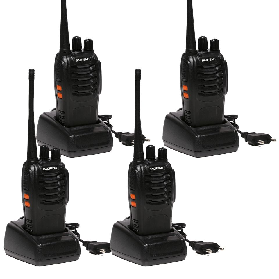 4 PCS Baofeng BF-888S Walkie Talkie Handheld Pofung bf 888s UHF 5W 400-470MHz 16CH Two Way Portable Scan Monitor Ham CB Radio