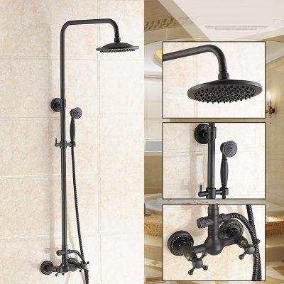 Dofaso 20cm head antique brass shower faucet big rain shower set black retro bathroom faucet with shower set