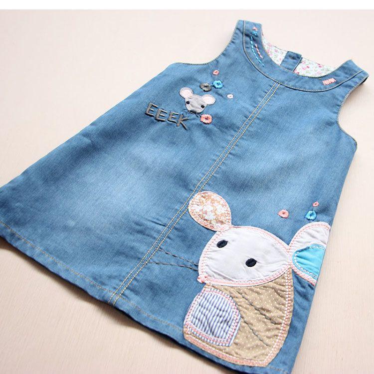 VIDMID Nouvelle Mode Été Filles Robe Denim Mignon Dessin Animé Imprimé Enfants Vêtements Haute Qualité Jeans Enfants Robes 6003 01