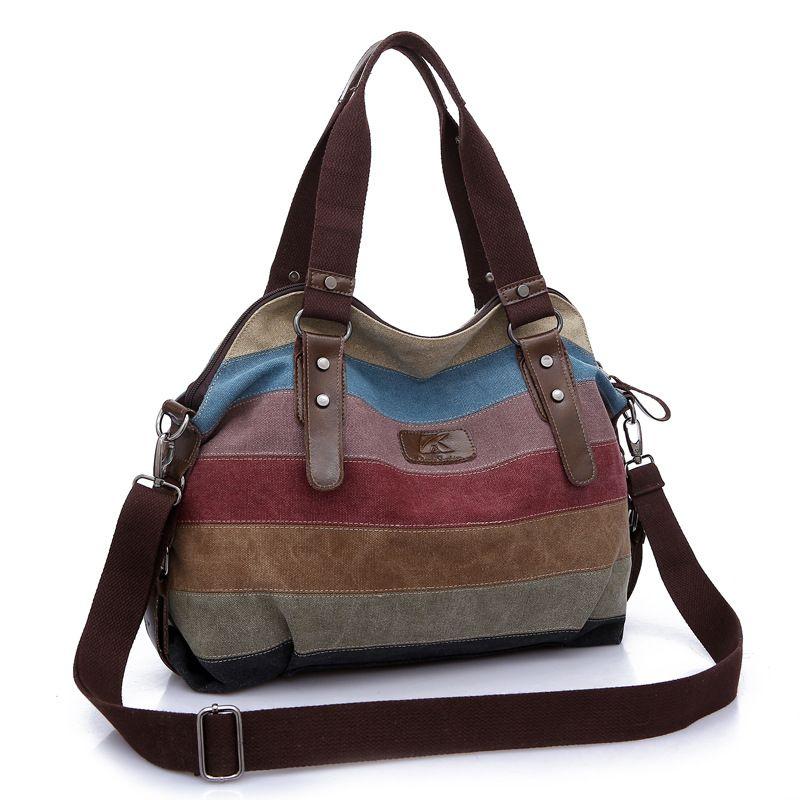 New Hot Casual Women Canvas Bag Simplicity Casual Patchwork Women Bags Woman Messenger Large Rainbow Bag Stripe