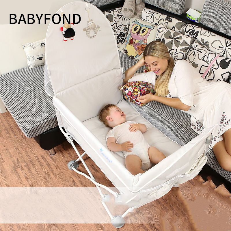 Portable Newborn Baby Bed Multifunctional Folding Travel Small Bb With Mosquito Net Splicing Bedside babyfond