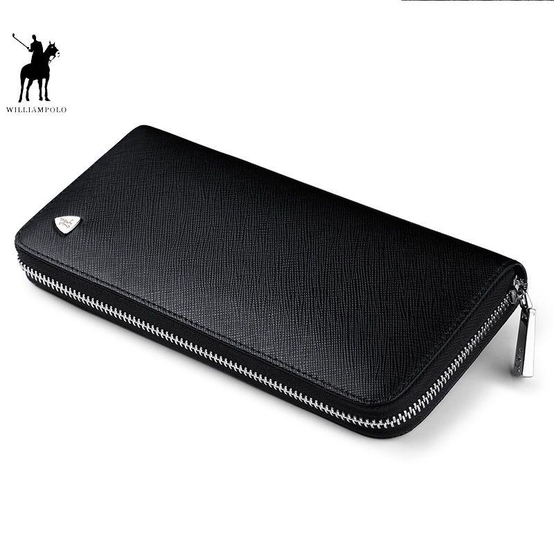 WILLIAMPOLO Neue mode männer lange brieftasche aus echtem leder geldbörse handtaschen für männlichen luxus marke zipper männer kupplungen polo119