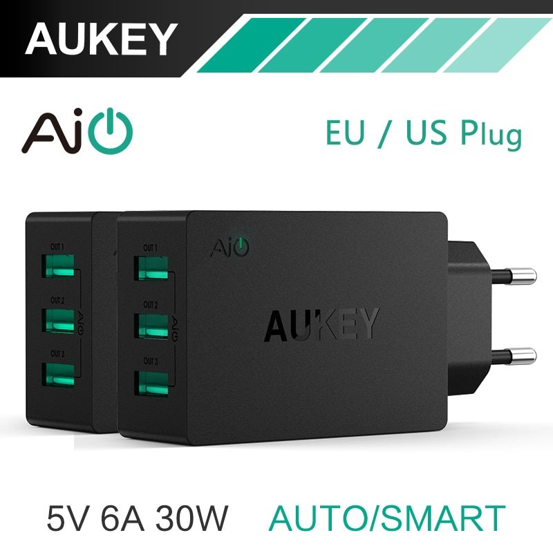 AUKEY 5V/6A Universal Travel USB Charger Adapter EU US Plug Wall Mobile Phone Smart Charger for Samsung Galaxy s8 iPhone Charger