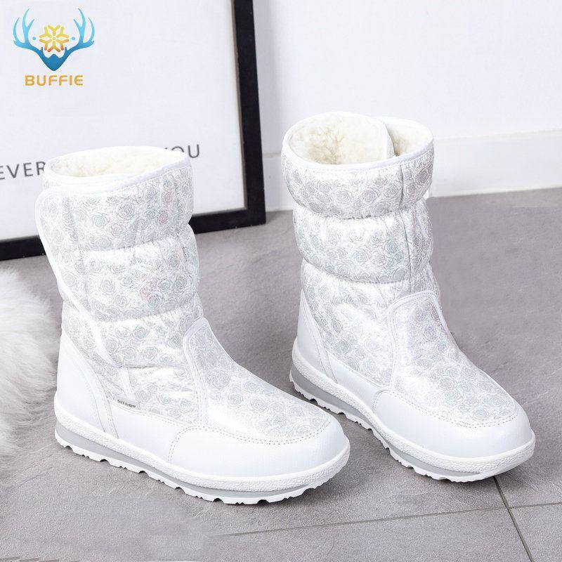 2019 vente chaude hiver femmes bottes de neige dame chaude fausse fourrure chaussure femme blanc Buffie marque à la mode bottes anti-dérapant semelle extérieure