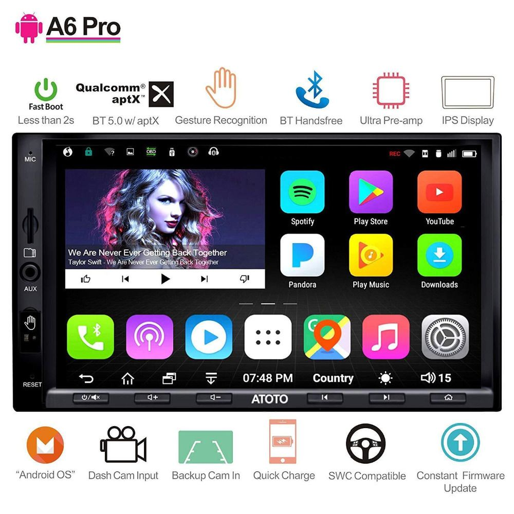 ATOTO A6 2 Din Android Auto GPS Stereo Player/2x Bluetooth/A6Y2721PRB-G/Hände Geste Betrieb/Indash multimedia Radio/WiFi USB