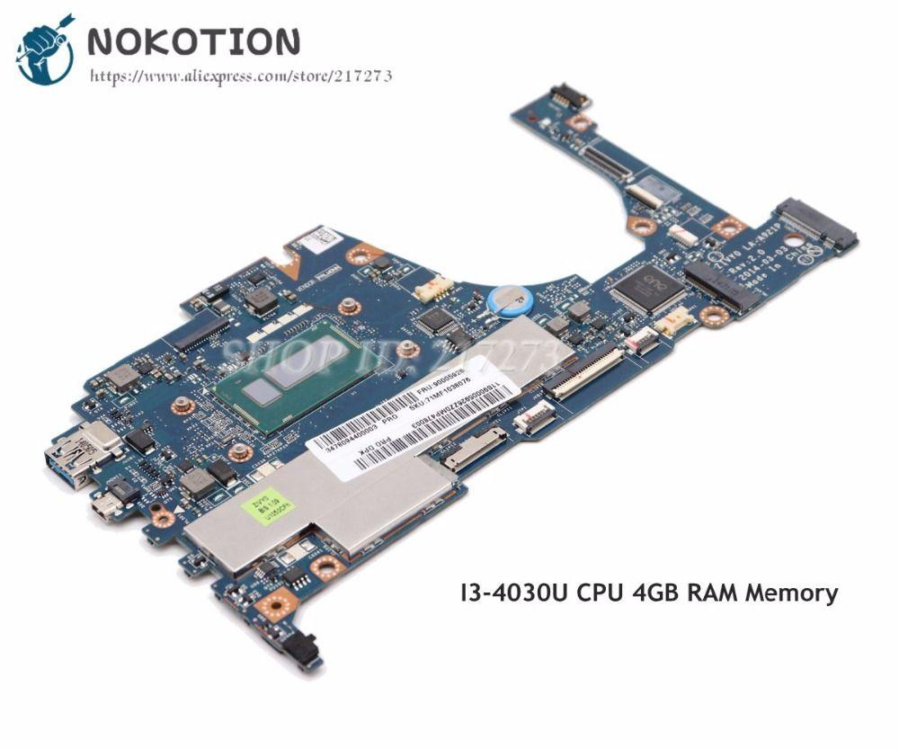 NOKOTION For Lenovo yoga 2 13 Laptop Motherboard 13.3 inch SR1EN I3-4010U CPU 4GB RAM Memory ZIVY0 LA-A921P Full tested