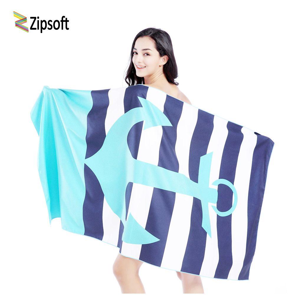Zipsoft пляжное полотенце из микрофибры большего размера путешествия Quick Dry Спортивные Одежда заплыва Для ванной Отдых Открытый бренда printedblue ...