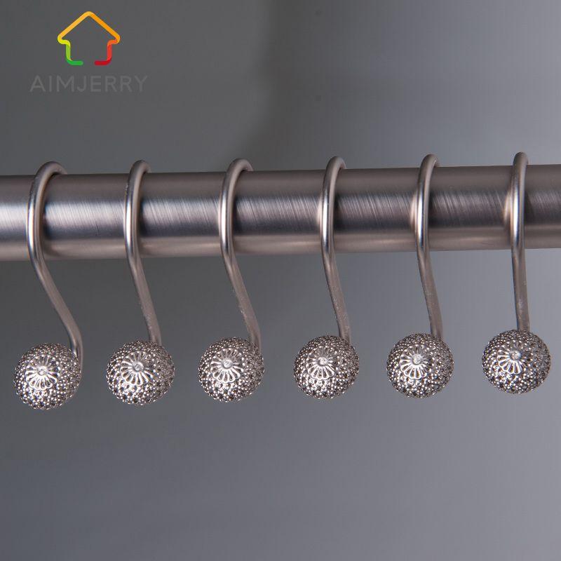 Aimjerry Livraison gratuite Europe Élégant Diamant Fer Poli Douche Rideau De Bain Anneau Crochets 12 pcs/ensemble
