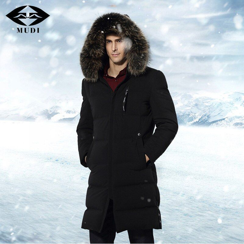 MUDI Men's Down Jacket 90% Duck Down Winter Jacket Warm Long Down Coat Big Fur Hooded Removable Outerwear Top Quality 6XL Jacket