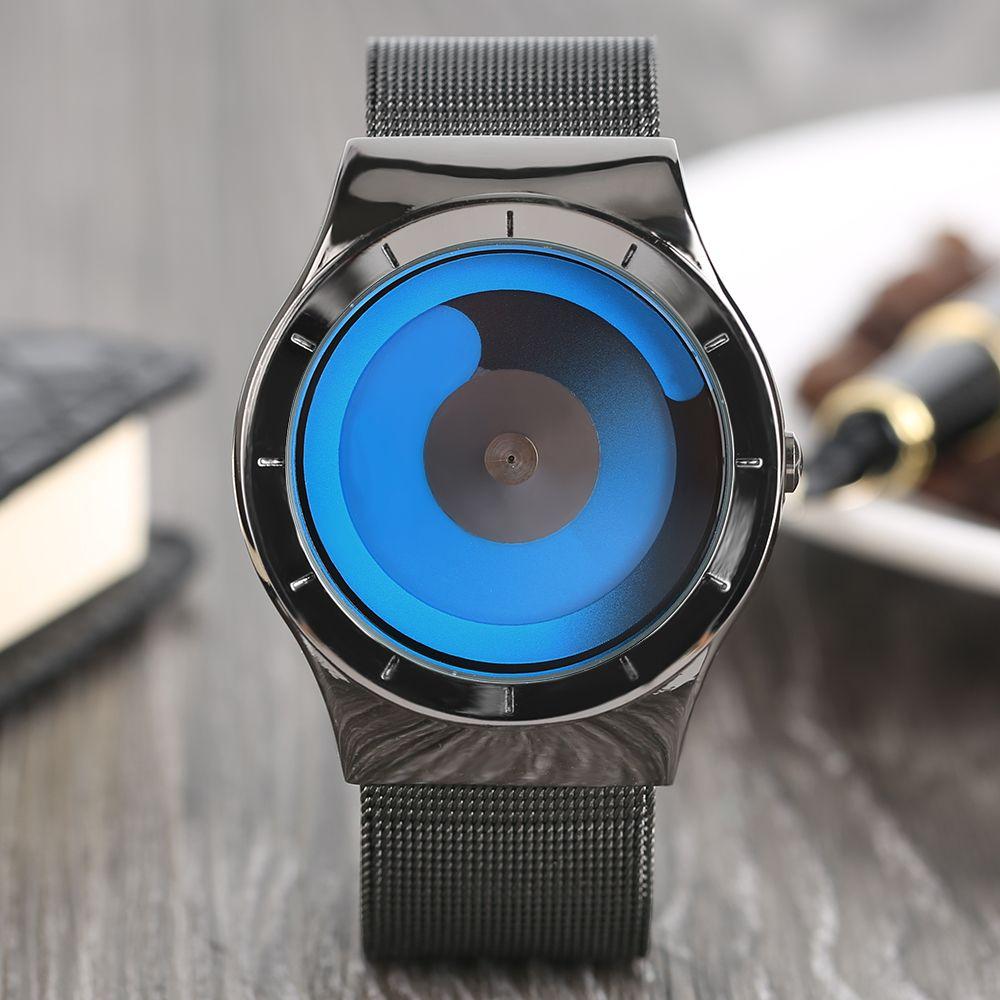 Творческий имэнцы Часы Топ люксовый бренд 2017 Нержавеющаясталь сетки ремешок кварцевые часы Мода Повседневное Стиль Relogio masculino Uhr