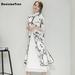 2019 Musim Panas Wanita Satin Cheongsam Gaun Malam Cina Oriental Qipao Gaun Tradisional Cina Tinta Lukisan Retro Gaun