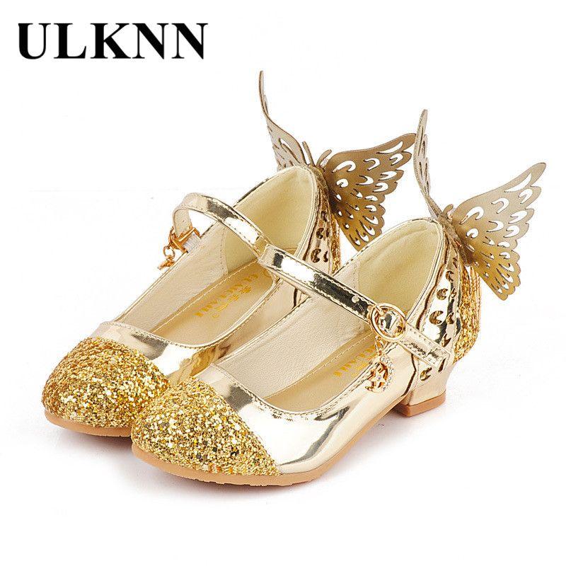 Ulknn bebé princesa Niñas Zapatos Sandalias para niños mariposa brillo tacón bajo niños Zapatos Niñas partido enfant meisjes Schoenen