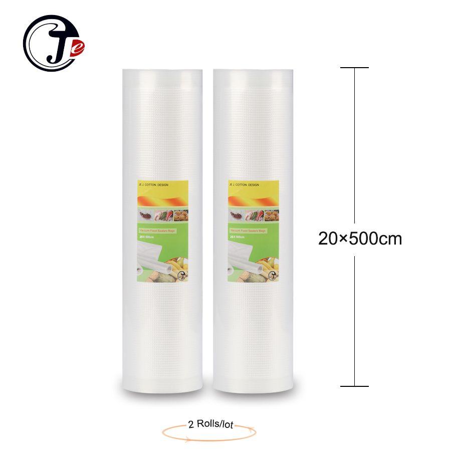 2 rouleau 20*500 CM sac d'emballage sous vide Portable pratique emballages sous vide alimentaire scelleur machine sacs pour sceller les paquets de machine PA + PE