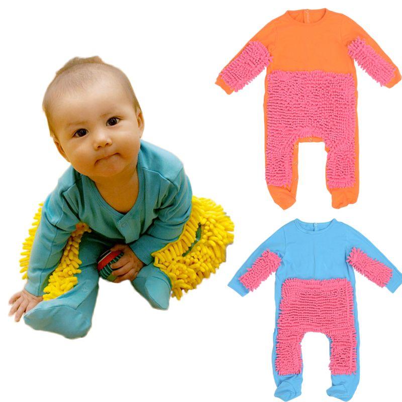 Hot bébé vadrouille barboteuse tenue unisexe garçon fille polit planchers nettoyage vadrouille costume automne hiver enfants ramper bambin Swob combinaison
