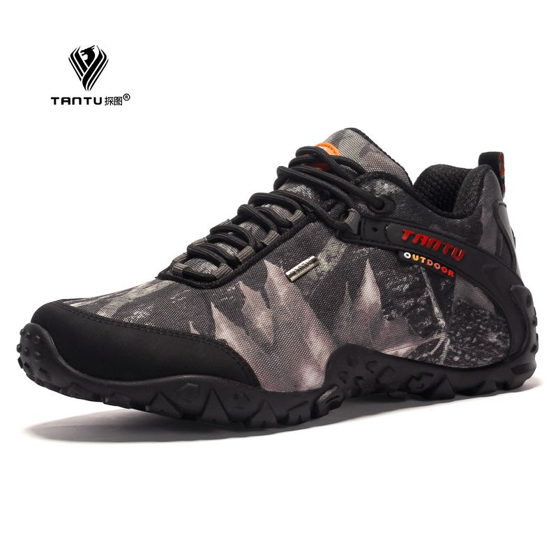 TANTU brand new waterproof canvas hiking shoes Anti-skid Wear resistant breathable fishing camping climbing rubber sole shoes