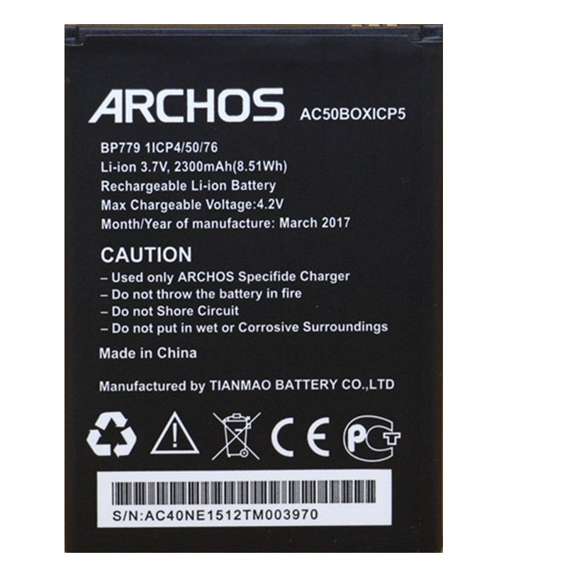 AC50BOX Battery for ARCHOS 50 Platinium 50b/Gsmart Mika M2 Cellphone External Li-Ion Rechargeable Batteries Pack Replacement