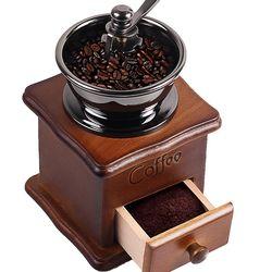 Wooden Handmade Coffee Grinder Retro Wood Design Coffee Mill Maker Stainless Steel Retro Coffee Machine Grinder Pepper Grinder